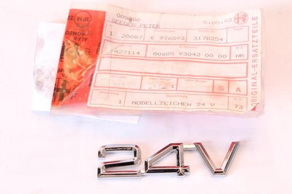 "Modellzeichen Emblem "" 24V "" Alfa 164 + Spider (916) NEU Original"