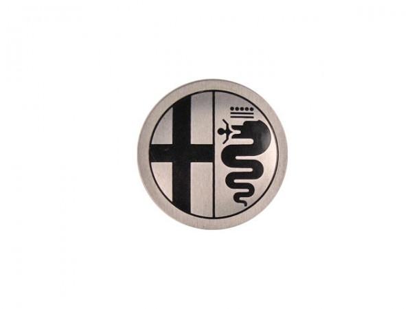 Emblem Alufelge schwarz / silberner Hintergrund 48 mm